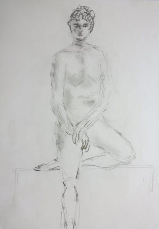 Croquis - Stående Kvinde med benet oppe 2017 Billedkunstner Odder Lars Stounberg