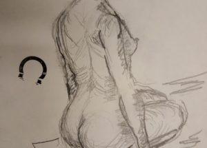 Croquis-tegning af kvinde på hug - 2020 Lars Stounberg