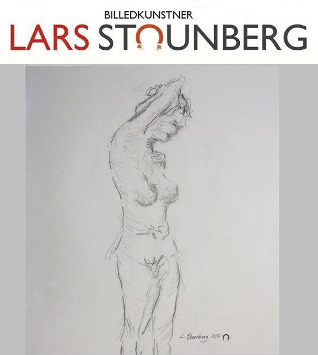 Køb Croquis-tegninger - kvinde stående med armen opad af billedkunstner Lars Stounberg 2017