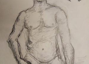 Croquis-tegning af mand ved stranden på hug 2020 billedkunstner Lars Stounberg