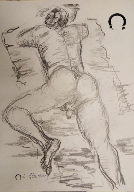 Croquis-tegning - mand liggende ved stranden på maven 2020 af Lars Stounberg