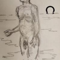 Croquis tegning af mand ved stranden 2020 af Lars Stounberg