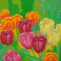 Farverigt moderne maleri - Mørkeroede, gule og orange tulipaner 2011 - Billedkunstner Odder Lars Stounberg
