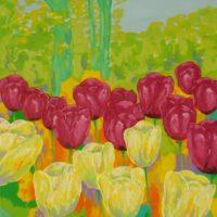 Farverigt moderne maleri - Tulipaner fra Gavnoe Slot 2010 - Billedkunstner Odder Lars Stounberg