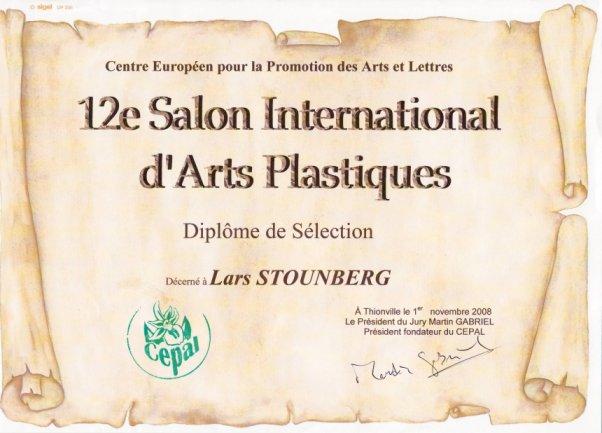 Diplom til Lars Stounberg - 12e Salon International d'Arts Plastiques 2008 du Cepal, Frankrig