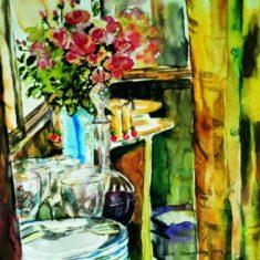 Farverig moderne akvarel - Titel: Disk 52 x 40 cm 1999 - Billedkunstner Odder Lars Stounberg