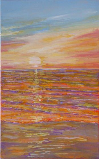 Havmaleri Solopgang Saksild Strand Billedkunstner Odder Lars Stounberg 2011