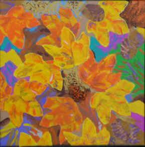 Maleriudstilling med tulipaner Gavnoe Slot 2010 - Lars Stounberg - efterårsblade