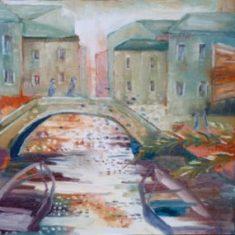 Titel: Evening by bridge olie 50 x 60 cm 2003 - Billedkunstner Odder Lars Stounberg