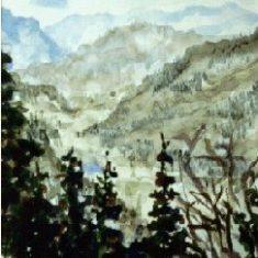Titel: Feldberg Schwarzwald akvarel 1990 - Billedkunstner Odder Lars Stounberg