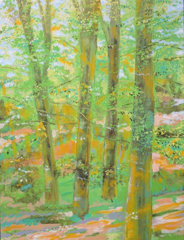 Maleri - Bøgeskov i maj Vejlskoven Odder 2014 - Billedkunstner Odder Lars Stounberg