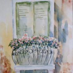 Titel: Frenchdoor Venedig akvarel 42 x 33 cm 2002 - Billedkunstner Odder Lars Stounberg