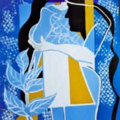 Titel: Fuglemand acryl 60x80 cm 2001 - Billedkunstner Odder Lars Stounberg