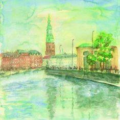 Titel: Gl. Strand københavn - akvarel 52 x 40 cm 1998 - Billedkunstner Odder Lars Stounberg