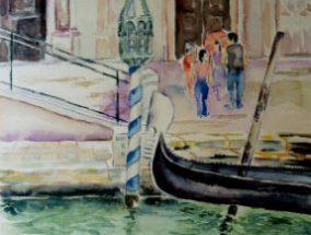 Akvarel - Gondol foran kirke 2003 - Billedkunstner Odder Lars Stounberg