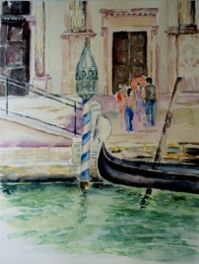 Gondol Venedig akvarel Lars Stounberg 2003