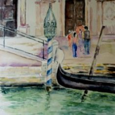 Titel: Gondol foran kirke Venedig akvarel 53 x 41 cm 2003 - Billedkunstner Odder Lars Stounberg