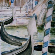 Titel: Gondoler Venedig akvarel 53 x 41 cm 2003 - Billedkunstner Odder Lars Stounberg