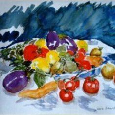 Titel: Grønt akvarel 33 x 42 cm 1999 - Billedkunstner Odder Lars Stounberg