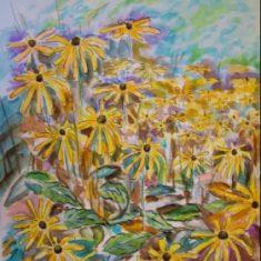 Titel: Gul Solhat akvarel 52 x 40 cm 2005 - Billedkunstner Odder Lars Stounberg