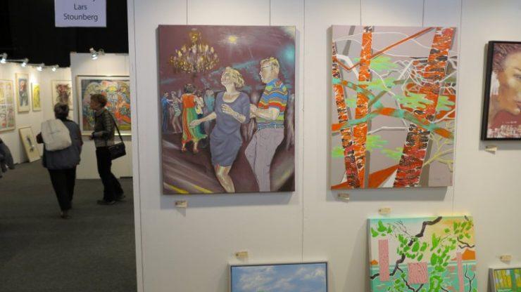 Hillerød Kunstdage 2015 - Lars Stounbergs stand med maleri salsa og maleri birketræer