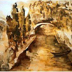 Titel: Italia Venedig akvarel 42 x 60 cm 1996 - Billedkunstner Odder Lars Stounberg