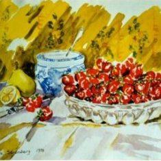 Titel: Jordbær akvarel 33 x 42 cm 1999 - Billedkunstner Odder Lars Stounberg
