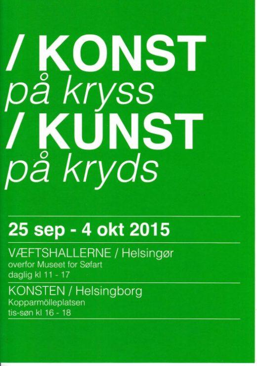 Brochure forside – KUNST på kryds / KONST på kryss Helsingør og Helsingborg 2015