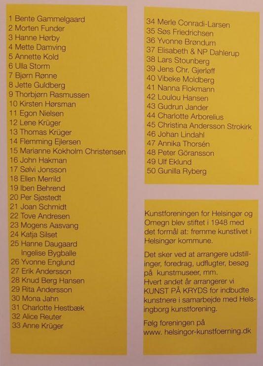Kunstnerliste i katalog for Sommerudstilling Helsingør Kunstforening 2017