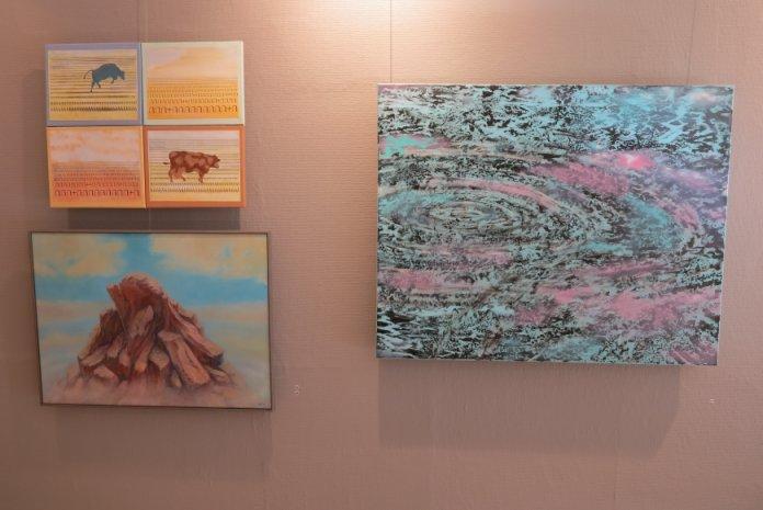 Lars Stounbergs maleri ringe i vandet - udstillet i Helsingborg Konstförening 2015