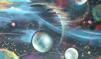 Moderne farverig maleri 2010 af Lars Stounberg - motiv kosmos og planeter