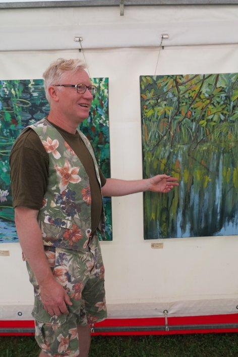 Kunst i teltet Hornbæk strand 2015 - Lars Stounberg præsenterer sut maleri