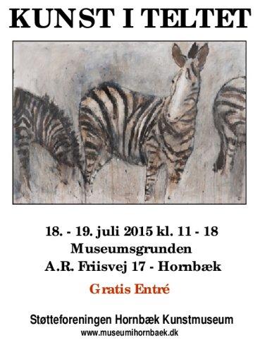 Plakat for udstillingen Kunst i teltet - Hornbæk strand 2015
