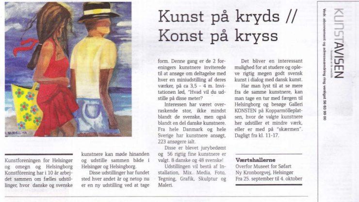 Artikel om udstillingen KUNKST på kryds i Kunstavisen september 2015