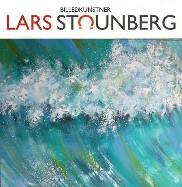 Maleri kraftig bølge Vesterhavet 2016 af billedkunstner Odder Lars Stounberg