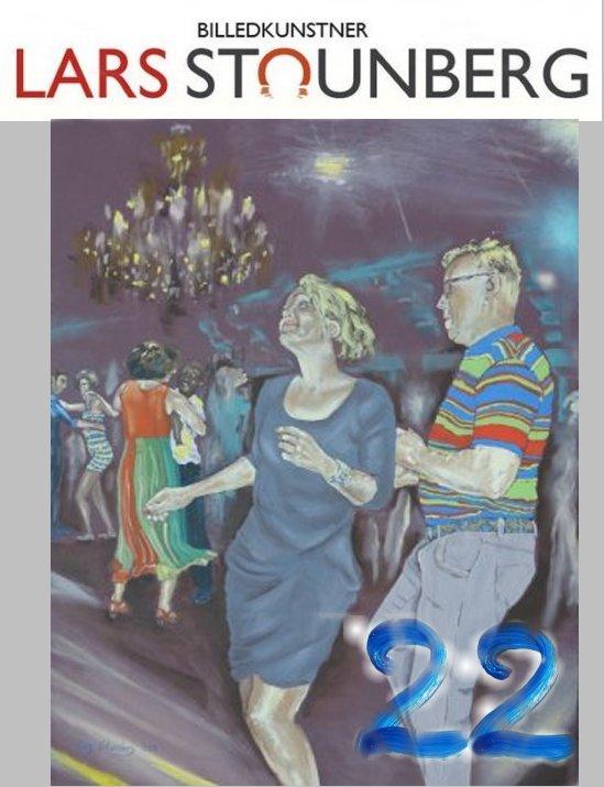 Julekalender kunst, malerier og croquis-tegninger - her maleri dans salsa - lars stounberg