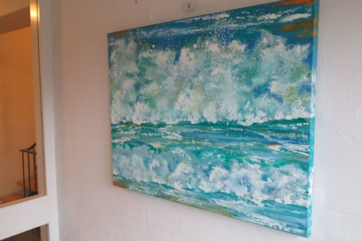Maleri Skumsprøjt Vesterhavet på maleri-udstilling Boulevarden Odder 2017