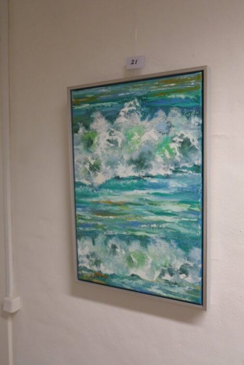 Maleri Skumsprøjt Havet 40x60 med på udstillingen Boulevarden Odder 2017