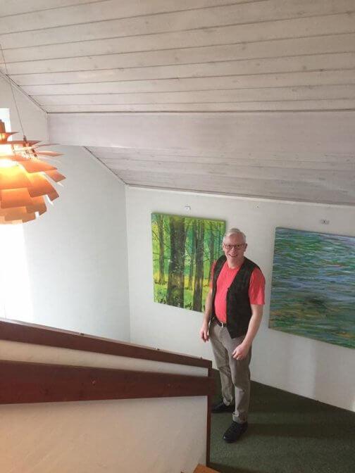 Maleri Bøgeskov og vandspejling maleriudstilling Boulevarden 2017 - Lars Stounberg