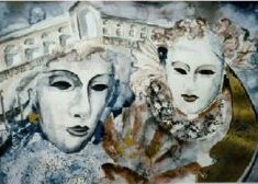 Titel: Masker Venedig akvarel 42 x 60 cm 1996 - Billedkunstner Odder Lars Stounberg