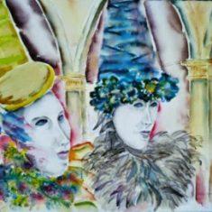 Titel: Carneval Venedig akvarel 58 x 78 cm 2001 - Billedkunstner Odder Lars Stounberg