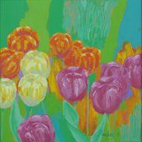 Farverigt moderne maleri - Blandede tulipaner 2011 - Billedkunstner Odder Lars Stounberg