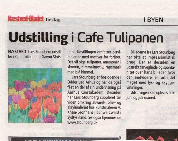 Omtale af Lars Stounbergs tulipanmaleriudstilling  Næstved-Bladet tirsdag 15. juni 2010