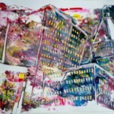 Titel: Gouache solgt til Dansk Dataservice Middelfart Newyork - Billedkunstner Odder Lars Stounberg