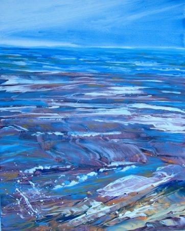 Moderne farverigt havmaleri - Havet 2009 - Billedkunstner Odder Lars Stounberg