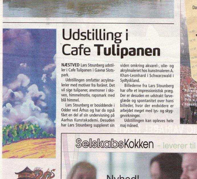 Næstved-Bladet tirsdag 11. maj 2010 - Omtale af maleriudstilling på Gavnø Slot i Cafe Tulipanen