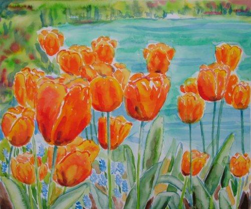 Farverig moderne akvarel - Tulipaner ved sø Gavnoe Slot 2007 - Billedkunstner Odder Lars Stounberg