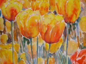 Farverig moderne akvarel - Orange-gul tulipan 2006 - Billedkunstner Odder Lars stounberg