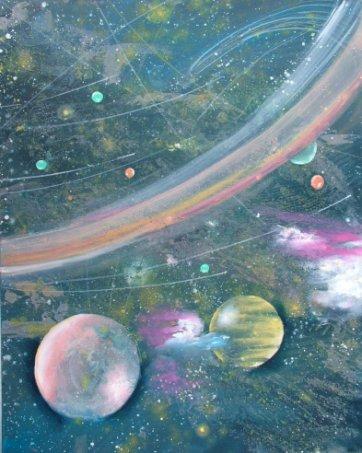 Farverigt moderne maleri - rummet - Galaxer - verdensrummet 2010 - Billedkunstner Odder Lars Stounberg
