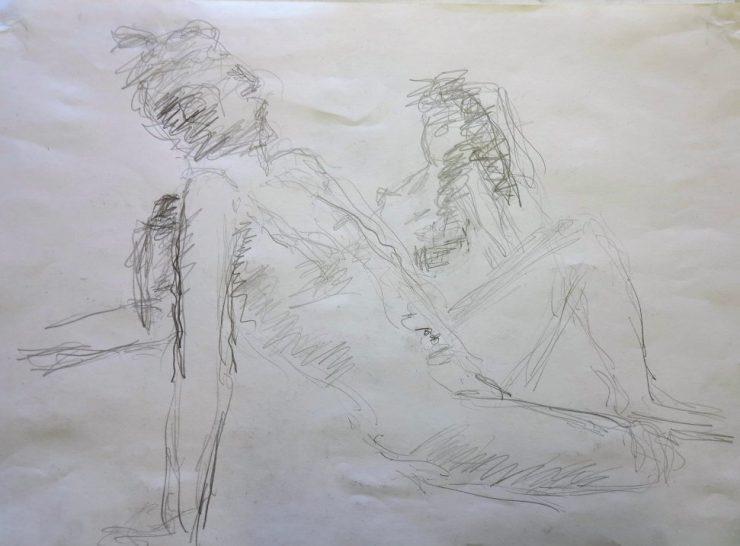 Croquis-tegning personer på en strand 42x60 af billedkunstner Lars Stounberg 2016
